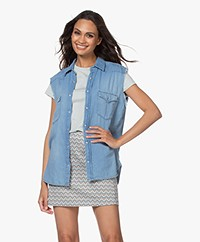 ba&sh Drop Sleeveless Cotton Blouse - Blue Jeans