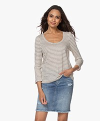 indi & cold Striped Linen T-shirt - Tapioca