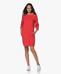no man's land Sweater Dress with Cropped Sleeves - Red