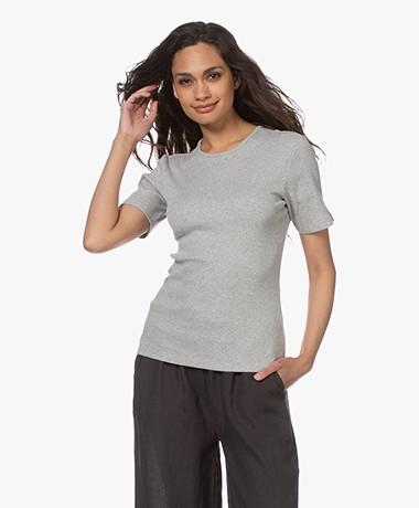 by-bar Jade Rib Knitted Cotton Top - Grey Melange