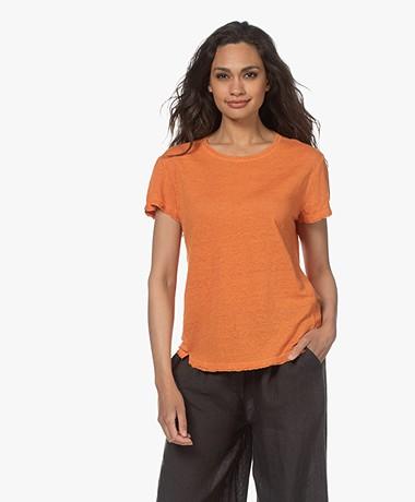 FRAME Easy True Linen T-shirt - Tangerine
