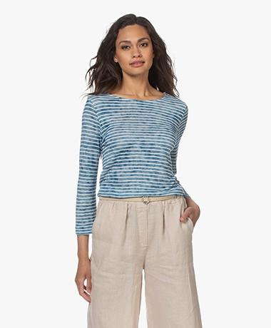 Majestic Filatures Striped Viscose and Linen T-shirt - Azur