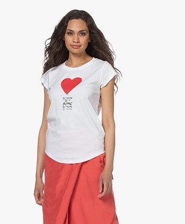 Zadig & Voltaire Skinny Je T'aime T-shirt - Wit