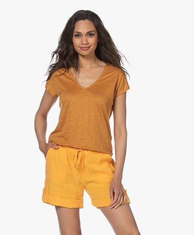 indi & cold Linen V-neck T-shirt - Ambar