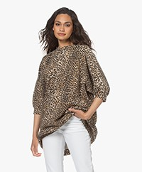 Ragdoll LA Super Oversized Printed Sweatshirt - Brown Leopard