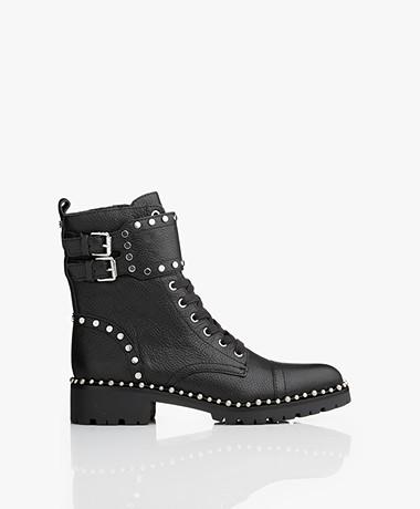 Sam Edelman Jennifer Leather Lace-up Boots with Studs - Black