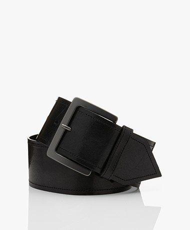 Drykorn Odea Leather Waist Belt - Black