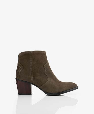Zadig & Voltaire Molly Suede Ankle Boots - Khaki
