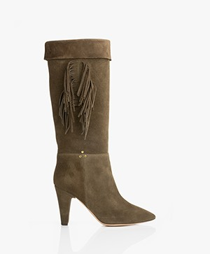 Jerome Dreyfuss Sandie Suede Boots with Fringes - Khaki
