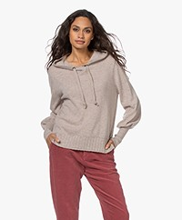 Repeat Organic Cashmere Hooded Sweater - Multi Beige