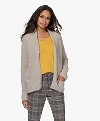 no man's land Open Mohair Blend Cardigan - Soft Biscuit