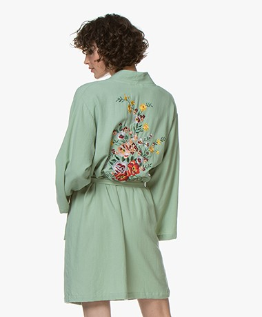 HAMMAM34 The Flower Embroidered Cotton Kimono - Sea Green