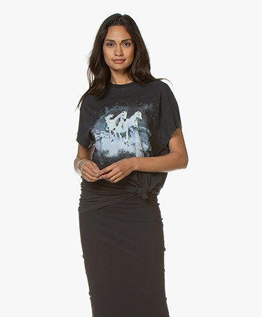 IRO Like Oversized T-shirt met Print - Used Black