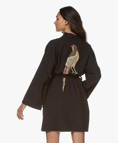 HAMMAM34 The Pheasant Embroidered Cotton Kimono - Black