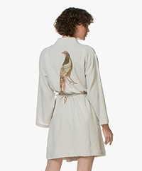 HAMMAM34 The Pheasant Embroidered Cotton Kimono - Mink