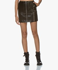 ANINE BING Sally Leather Mini Skirt - Black