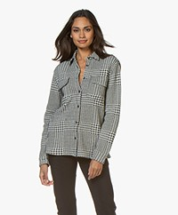 Majestic Filatures Jersey Houndstooth Blouse - Milk