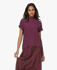 Josephine & Co Giorgio Crepe Viscose Blouse Top - Aubergine