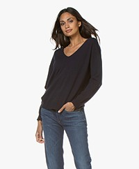 Closed Pure Cashmere V-neck Sweater - Dark Night