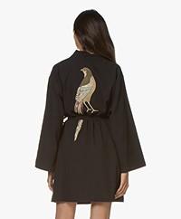 HAMMAM34 The Pheasant Geborduurde Katoenen Kimono - Zwart