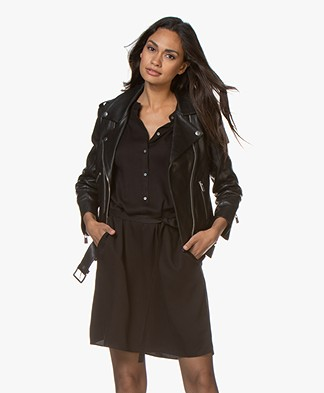 Anine Bing Cropped Leather Moto Jacket - Black