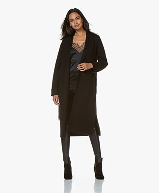 Repeat Long Merino Wool Cardigan - Black