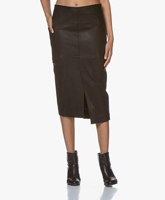 studio .ruig Rhoda Leather Midi Pencil Skirt - Black