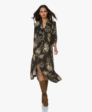 ba&sh Eleanor A-line Printed Shawl Collar Dress - Black