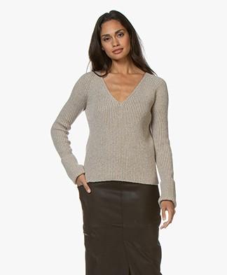 Majestic Filatures V-neck Sweater - Ecru Melange