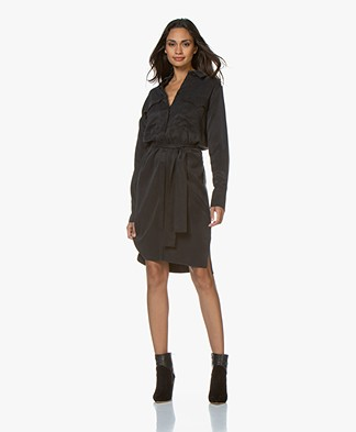 Drykorn Jinna Cupro Shirt Dress - Black