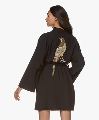 HAMMAM34 The Pheasant Embroidered Cotton Kimono - Black