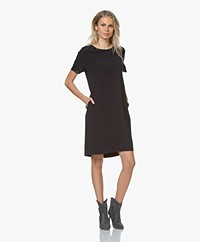 LaSalle Crepe Crew Neck Dress - Navy