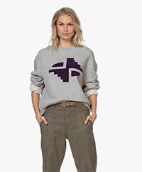 Closed Flock Print Sweatshirt - Grey Heather