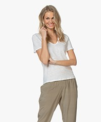 Filippa K Deep V-neck Linen Tee - Wit
