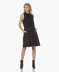 JapanTKY Amya Travel Jersey Sleeveless A-line Dress - Blue Black