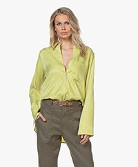 Drykorn Charlee Cupro Blouse - Limegroen