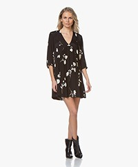 ba&sh Pansy Crepe Printed Dress - Black
