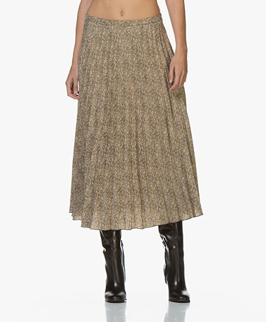 by-bar Maan Pleated Skirt with Print - Sand/Black