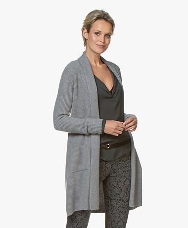 Belluna Oscar Wool Blend Rib Cardigan - Grey
