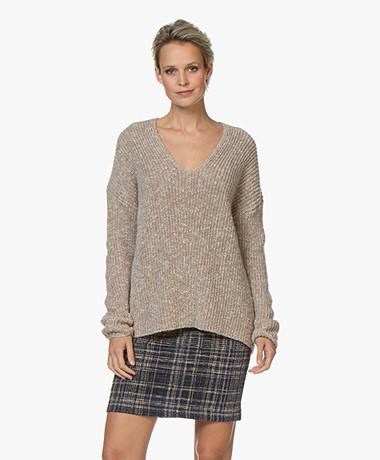 Drykorn Linna V-neck Sweater - Taupe Melange