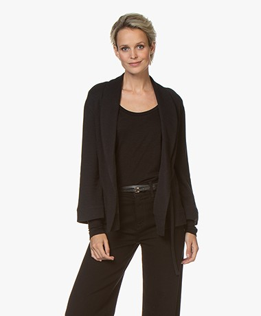 Majestic Filatures Double-faced Jersey Wrap Cardigan - Black/Anthracite
