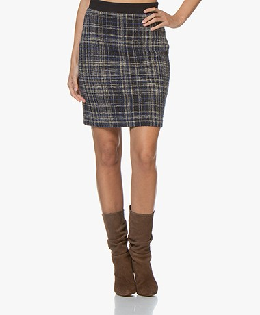 Josephine & Co Greta Jersey Tweed Pencil Skirt - Print Navy