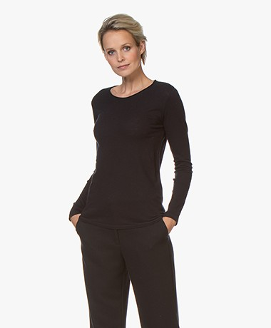 Majestic Filatures Carly Soft Touch R-hals Longsleeve - Marine