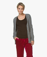 Repeat Destroyed Cashmere V-Neck Cardigan - Mud