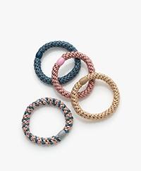 Bon Dep Kknekki Hair Ties - Blue/Pink/Beige
