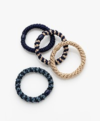Bon Dep Kknekki Hair Ties - Blue/Beige