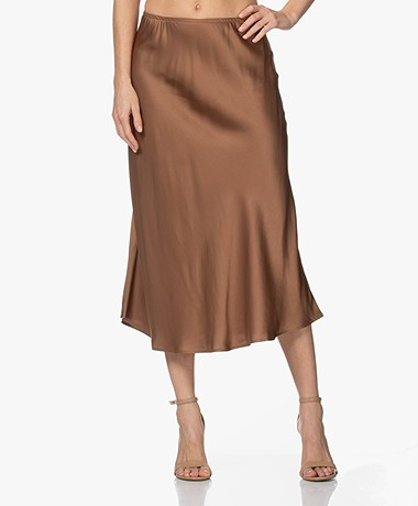 Resort Finest Frivo Satin Midi Skirt - Camel