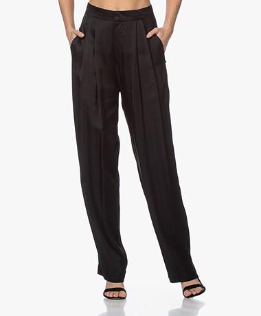 Resort Finest Fico Loose-fit Satijnen Pantalon - Zwart