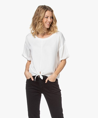 studio .ruig Tine Viscose Blouse with Tie Detail - Off White