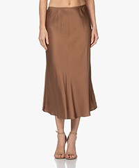 Resort Finest Frivo Satin Midi Skirt - Camel